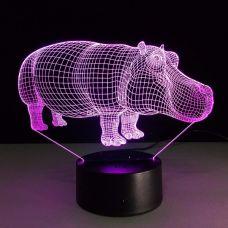3D Светильник семицветный Бегемот